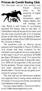New article about Princes de Condé Racing Club in the latest Owners and Breeders
